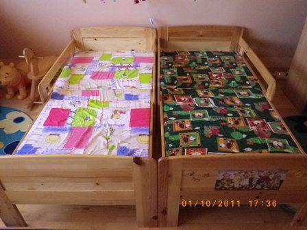 2 db lakkozott fa, leesésgátlós, hosszabítható ágy eladó ...