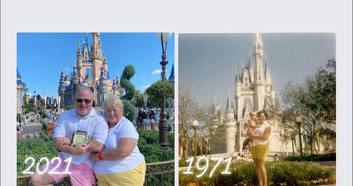 Ötvenéves fotót ismételt meg anya és fia Disneyworldben